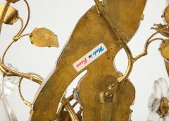 Maison Bagu s Pair of Large Vintage Maison Bagu s Rock Crystal Bird Form Sconces - 1779414
