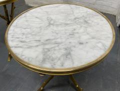 Maison Bagu s Pair of Maison Bagu s Style Bronze and Carrara Marble Top Tables - 1943134