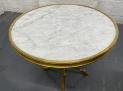 Maison Bagu s Pair of Maison Bagu s Style Bronze and Carrara Marble Top Tables - 1943135