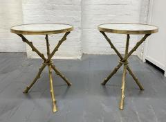 Maison Bagu s Pair of Maison Bagu s Style Bronze and Carrara Marble Top Tables - 1943138