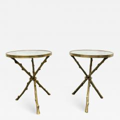 Maison Bagu s Pair of Maison Bagu s Style Bronze and Carrara Marble Top Tables - 1943272