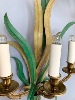 Maison Bagu s Pair of Sconces Bamboo Palm Bronze by Maison Bagues France 1970s - 1078601