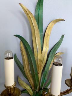 Maison Bagu s Pair of Sconces Bamboo Palm Bronze by Maison Bagues France 1970s - 1078602