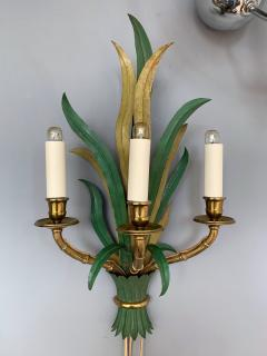 Maison Bagu s Pair of Sconces Bamboo Palm Bronze by Maison Bagues France 1970s - 1078607