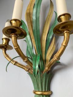 Maison Bagu s Pair of Sconces Bamboo Palm Bronze by Maison Bagues France 1970s - 1078608