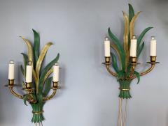 Maison Bagu s Pair of Sconces Bamboo Palm Bronze by Maison Bagues France 1970s - 1078609