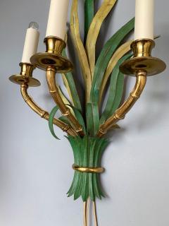Maison Bagu s Pair of Sconces Bamboo Palm Bronze by Maison Bagues France 1970s - 1078610
