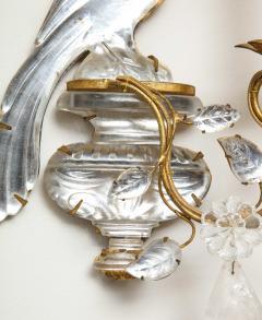 Maison Bagu s Pair of Vintage Maison Bagu s Rock Crystal Bird Form Sconces - 1779402