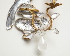 Maison Bagu s Pair of Vintage Maison Bagu s Rock Crystal Bird Form Sconces - 1779403