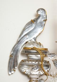 Maison Bagu s Pair of Vintage Maison Bagu s Rock Crystal Bird Form Sconces - 1779405
