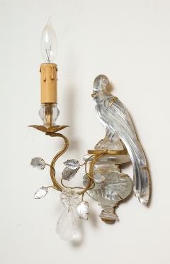Maison Bagu s Pair of Vintage Maison Bagu s Rock Crystal Bird Form Sconces - 1779406