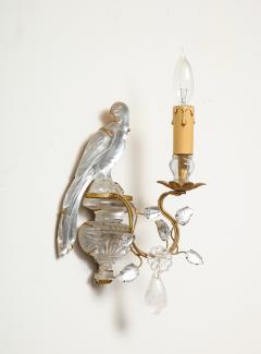 Maison Bagu s Pair of Vintage Maison Bagu s Rock Crystal Bird Form Sconces - 1779407