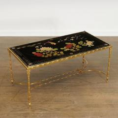 Maison Bagu s Rare gilt bronze faux bamboo coffee table by Maison Bagues with floral motifs  - 1387362