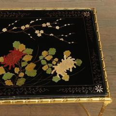 Maison Bagu s Rare gilt bronze faux bamboo coffee table by Maison Bagues with floral motifs  - 1387365