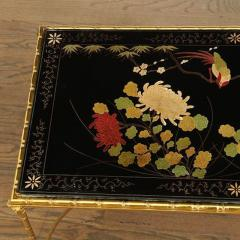 Maison Bagu s Rare gilt bronze faux bamboo coffee table by Maison Bagues with floral motifs  - 1387366