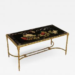 Maison Bagu s Rare gilt bronze faux bamboo coffee table by Maison Bagues with floral motifs  - 1388343