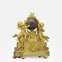 Maison Deni re A Napoleon III Ormolu and Patinated Bronze Figural Mantel Clock by Deniere - 2036225