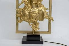 Maison Gu rin Rare Table Lamp with a Buddha Bronze Figure Maison Guerin Paris circa 1970 - 1174555