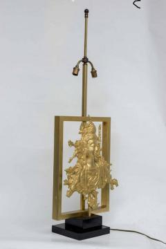 Maison Gu rin Rare Table Lamp with a Buddha Bronze Figure Maison Guerin Paris circa 1970 - 1174560