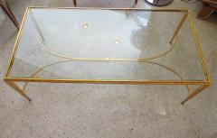 Maison Raphael A French Modern Gilt Iron and Glass Coffee Low Table - 515172
