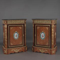 Manufacture Nationale de S vres Sevres Porcelain A Pair of Walnut Side Cabinets - 910792
