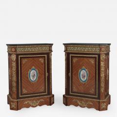 Manufacture Nationale de S vres Sevres Porcelain A Pair of Walnut Side Cabinets - 912648