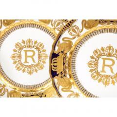 Manufacture Nationale de S vres Sevres Porcelain Exquisite Set of 12 Sevres Porcelain Royal Dinner Plates with R Monogram - 1110912