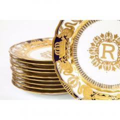 Manufacture Nationale de S vres Sevres Porcelain Exquisite Set of 12 Sevres Porcelain Royal Dinner Plates with R Monogram - 1110916