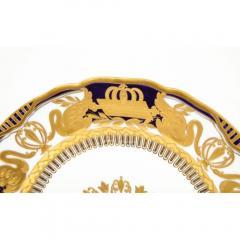 Manufacture Nationale de S vres Sevres Porcelain Exquisite Set of 12 Sevres Porcelain Royal Dinner Plates with R Monogram - 1110917