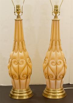 Marbro Lamp Company Large Pair of Coral Tone Murano Lamps with Brass Details by Marbro - 647950