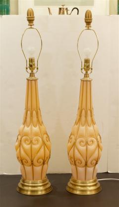 Marbro Lamp Company Large Pair of Coral Tone Murano Lamps with Brass Details by Marbro - 647951