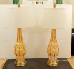 Marbro Lamp Company Large Pair of Coral Tone Murano Lamps with Brass Details by Marbro - 647953