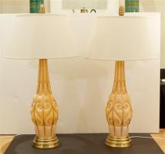 Marbro Lamp Company Large Pair of Coral Tone Murano Lamps with Brass Details by Marbro - 647954