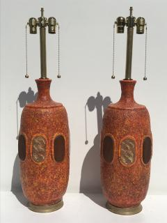Marbro Lamp Company Pair of Orange Lave Glazed Ceramic Lamps - 530825