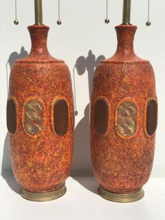 Marbro Lamp Company Pair of Orange Lave Glazed Ceramic Lamps - 530826