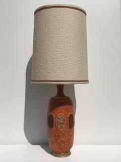Marbro Lamp Company Pair of Orange Lave Glazed Ceramic Lamps - 530832