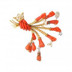 Marchak Surrealist Coral Gem Hand Brooch by Marchack Paris - 184363
