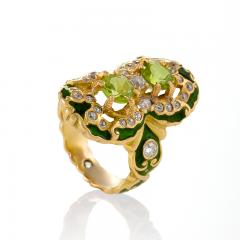 Marcus Co Art Nouveau Peridot Diamond Gold and Enamel Ring - 217925