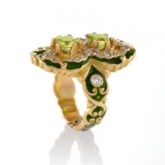 Marcus Co Art Nouveau Peridot Diamond Gold and Enamel Ring - 217926