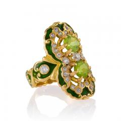 Marcus Co Art Nouveau Peridot Diamond Gold and Enamel Ring - 217927