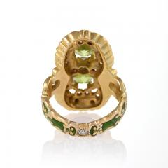 Marcus Co Art Nouveau Peridot Diamond Gold and Enamel Ring - 217928
