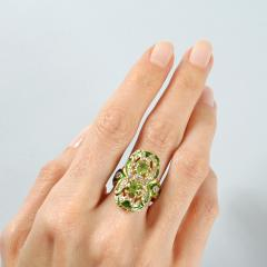 Marcus Co Art Nouveau Peridot Diamond Gold and Enamel Ring - 217930