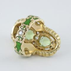 Marcus Co Art Nouveau Peridot Diamond Gold and Enamel Ring - 217933