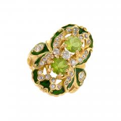 Marcus Co Art Nouveau Peridot Diamond Gold and Enamel Ring - 217980