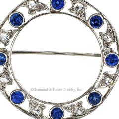 Marcus Co Marcus Co Edwardian Blue Sapphire and Rose Cut Diamond Circle Brooch - 428383