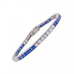 Marcus Co Marcus Co Sapphire French Cut Diamond Platinum Bracelet - 462339