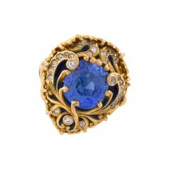 Marcus Co Marcus Company Blue Sapphire Old European Diamond Gold and Enamel Ring - 263254