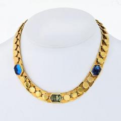 Marina B HONEYCOMB 18K YELLOW GOLD LINK CABOCHON NECKLACE AND EARRINGS JEWELRY SET - 1858279