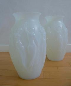 Marius Ernest Sabino Sabino Glass Art Deco Vases Opalescent Dancing Nudes 1930s Pair - 1570262