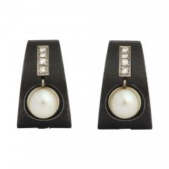 Marsh Co Pearl Diamond Earrings in Stainless Steel by Marsh Co  - 445793